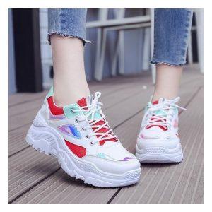 White / Red Female Sneakers discountshub