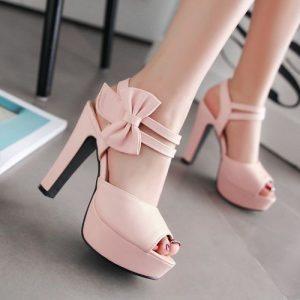 Women Shoes Peep Toe Bow Velcro High Heels discountshub