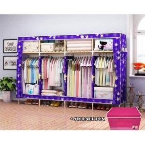 Wooden Wardrobe + Storage Box- L-205cm,B-45cm,H-175cm Purple discountshub