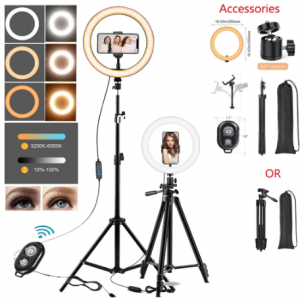 10in LED Selfie Ring Light Photography RingLight Phone Stand Holder Tripod Tiktok Circle Fill Light Dimmable Lamp Trepied Makeup discountshub