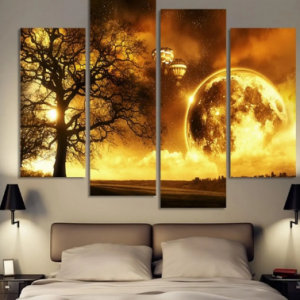 4Pcs Modern Abstract Canvas Painting Frameless Wall Art Yellow Moon Bedroom Living Room Home Decor discountshub