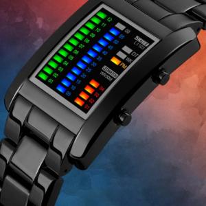 Adjustable Steel Band Men Business Watch Waterproof LED Display Digital Watch discountshub