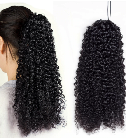 Aliballad Kinky Curly Drawstring Ponytail Remy Human Hair Brazilian Cury Ponytail Afro Clip In Extensions 2 Combs 150g discountshub