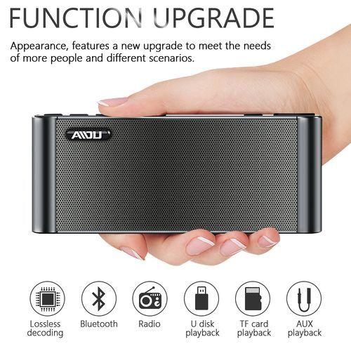 Bluetooth Speaker Q8 Wireless Super Bass Dual HIFI Speaker Soundbar With Mic TF FM Radio USB- Black discountshub