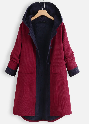 Casual Patch Hooded Chunky Quilted Fleece Corduroy Long Coat discountshub
