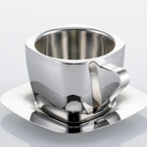 Double Anti-hot Insulation Square Milk Tea Cup and Saucer Tea Cup Stainless Steel Coffee Cup discountshub