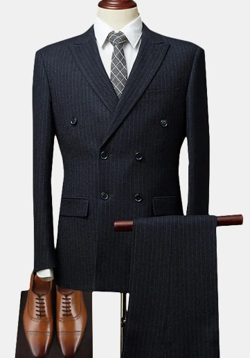 Double Breasted Notch Collar Striped Wedding Business Suit for Men discountshub