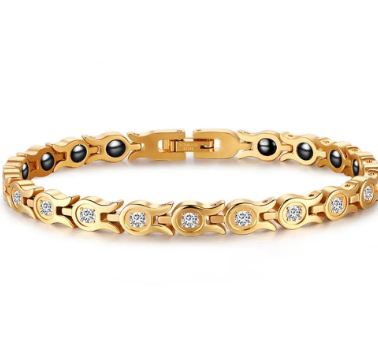 Fashion Chain Gold Bracelet Magnetic Therapy Zirconia Stainless Steel Single Row Bracelet for Women discountshub