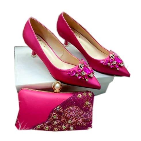 Fashion Woman Court Shoe With To Match Clutch Purse discountshub