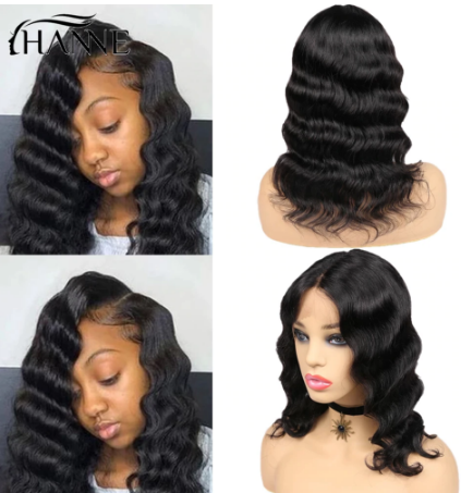 HANNE Hair Lace Front Middle Part Human Hair Wigs Loose Deep Wave Short Hair Wig Brazilian Glueless Wigs For Women discountshub
