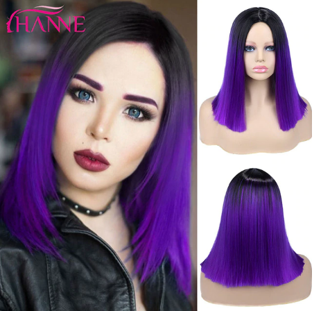 HANNE Ombre Pink/Brown/Grey Straight Shoulder Length Synthetic Wigs Heat Resistant Hair For Black/White Women Cosplay Or Party discountshub