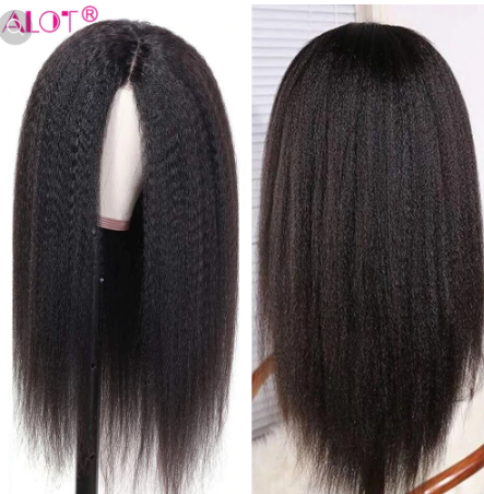 Lace Wig Pre Plucked With Baby Hair Brazilian Remy Kinky Straight Human Hair Wigs Glueless 13x1 Lace Part Wigs 180% 10-28 Inch discountshub