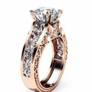 Luxury Topaz Stone Inlaid 14K Rose Gold Flower Hollow Platinum Rings Wedding Gift for Her discountshub