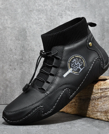 Men Hand Stitching Comfy Microfiber Leather Soft Sock Ankle Boots discountshub