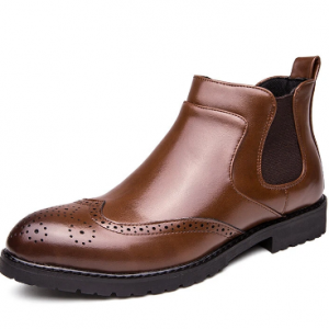 Men Stylish Brogue Carved Slip On Chelsea Ankle Boots discountshub