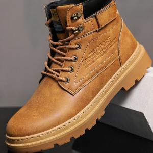 Men Work Style Slip Resistant Comfy Round Toe Tooling Boots discountshub