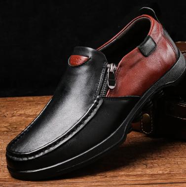 Menico Men Genuine Leather Non Slip Color Blocking Soft Sole Casual Shoes discountshub