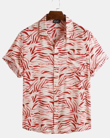 Mens Animal Zebra Print Short Sleeve Shirts discountshub
