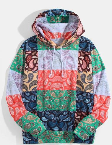 Mens Mixed Paisley Print Casual Loose Pullover Hoodie With Kangaroo Pocket discountshub