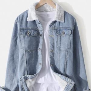 Mens Plush Lined Cotton Lapel Warm Outdoor Stylish Denim Jackets With Pocket discountshub