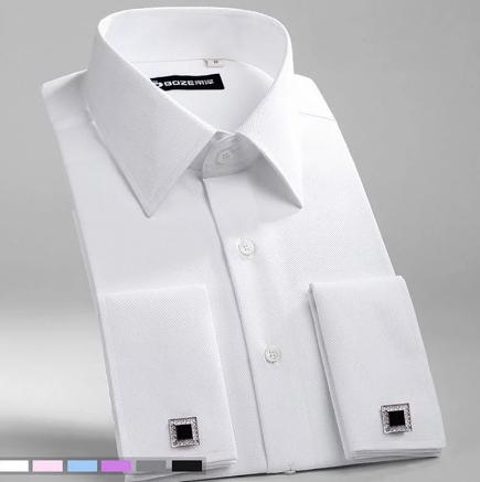 Men's Slim Fit French Cufflinks Shirt Non Iron Long Sleeve Cotton Male Tuxedo Shirt Formal Mens Dress Shirts With French Cuffs discountshub