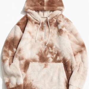 Mens Tie-Dye Half Zipper Fluffy Plush Hoodie With Kangaroo Pocket discountshub