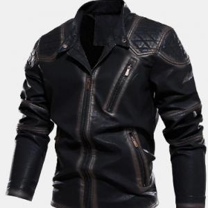 Mens Zip Front Velvet Lined PU Jackets With Zipped Welt Pocket discountshub