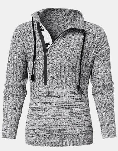 Mens Zipper Front Letter Knitted Designer Kangaroo Pocket Drawstring Sweater discountshub