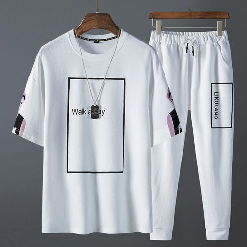 New 2 Piece Men's Suits Short Sleeve T-shirt & Pants discountshub