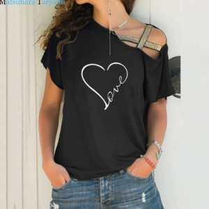 New Love Heart Print T Shirt Women T-shirt Irregular Short Sleeve Summer TShirt Tops Funny T Shirts Plus Size discountshub