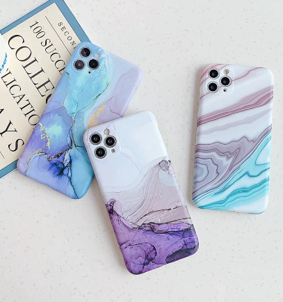 Ottwn Fashion Matte Marble Texture Stone Phone Case For iPhone 12 Pro 12Mini 11 Pro Max X XR XS Max 7 8 Plus Soft IMD Back Cover discountshub