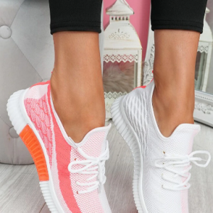 Plus Size Wide Fit Lace Up Front Mesh Running Shoes for Women discountshub