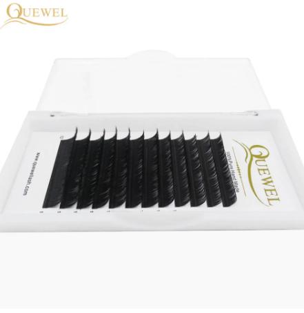Quewel Eyelash Extension 12 Lines/Tray Silk Cilios Soft Professionals Individual Eye Lash Extensions C/CC/D Curl False Lashes discountshub
