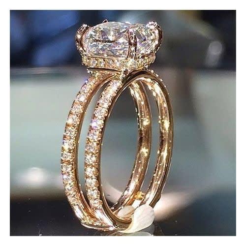 Rose Gold Zircon Womens Engagement Ring discountshub