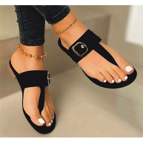 Sexy Ladies Suede Casual Flat Slippers-black discountshub