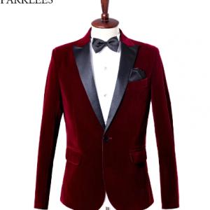 Wine Red Velvet Blazer Men 2019 Fashion Leisure Suit Jacket Men Wedding Groom Singer Costume Homme Slim Fit Blazer Masculino 4XL discountshub