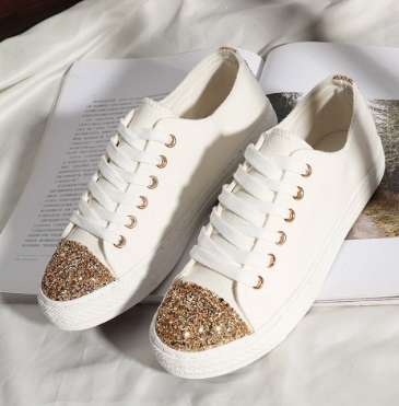 Women Casual Sequined Canvas Lace Up Flat Shoes discountshub