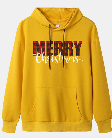 Women Christmas Letter Print Casual Hoodies With Pocket discouintshub