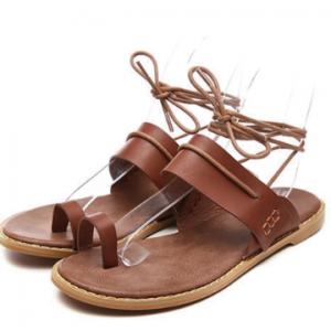 Women Clip Toe Ring Tie Leg Flats Sandals discountshub