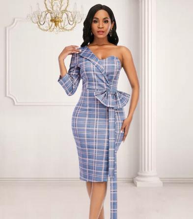 Women Plaid Dress Irregular Sleeve with Bowtie Off One Shoulder Bodycon Slim Classy Plus Size Office Lady Fashion African Female discountshub