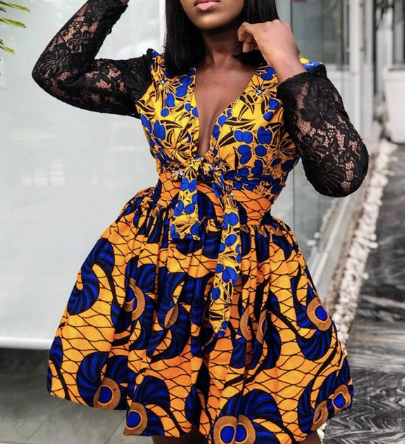 Women Printed Dress Deep V Neck Patchwork Lace Sleeves A Line Pleated with Waist Belt Female Fashion Fall African Femme Vestidos discountshub