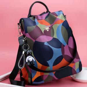 Women Waterproof Printed Nylon Anti-theft Backpack discountshub