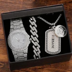 3 Pcs Men Watch Set Inlaid Diamond Steel Band Quartz Watch Necklace Bracelet Jewelry Gift Kit discountshub