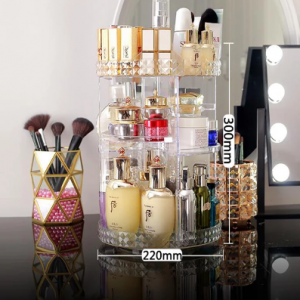 360 Degree Rotating Cosmetic Storage Box Makeup Organizer Cosmetics Storage Rack Fashion Crystal helf Display Stand High Capacit discountshub