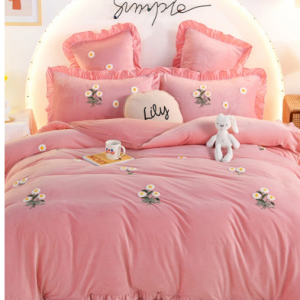 4Pcs Flannel Floral Overlay Towel Embroidery Autumn And Winter Warm Comfy Bedding Milk Velvet Series Kit discountshub