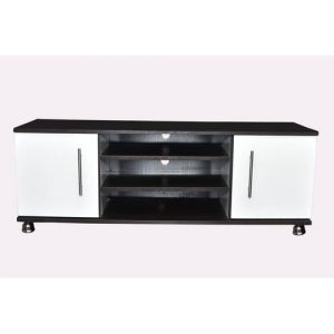 Craft Wooden White And Black Four Feet TV Stand. discountshub