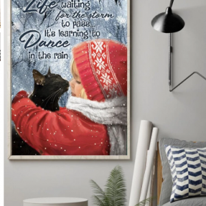 Girl And Black Cat Pattern Unframed Oil Painting Canvas Wall Art Living Room Home Decor discountshub
