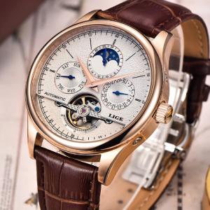 LIGE Brand Classic Mens Retro Watches Automatic Mechanical Watch Tourbillon Clock Genuine Leather Waterproof Military Wristwatch discountshub