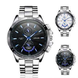 LONGBO Top Brand Mens Silver Watches Luxury Stainless Steel Strap Luminous Waterproof Quartz Watch discountshub