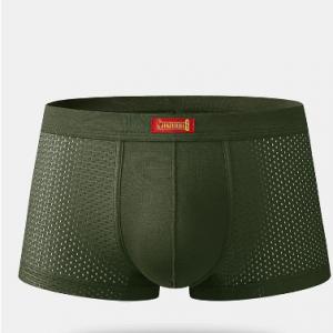 Men Sexy Mesh Boxer Briefs Plain Ice Silk Breathable Patchwork Stretch Underwear With Pouch discountshub